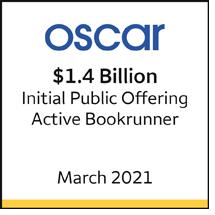 Oscar $1.4 billion initial public offering, March 2021. Active bookrunner