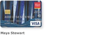 Wells Fargo Visa card 5 with unique design by Maya Stewart