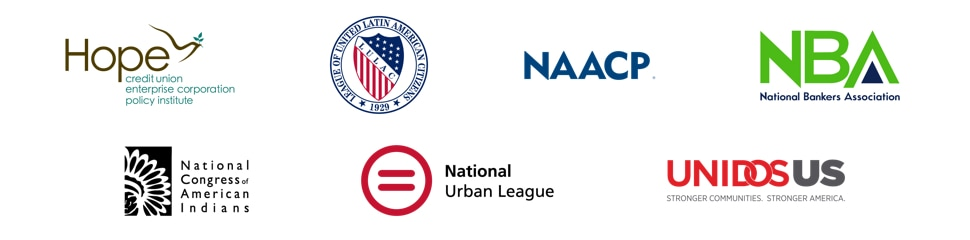 Hope Enterprise Corporation, LULAC (League of United Latin American Citizens), NAACP (National Association for the Advancement of Colored People), NBA (National Bankers Association), NCAI (National Congress of American Indians), National Urban League, and UnidosUS logos.