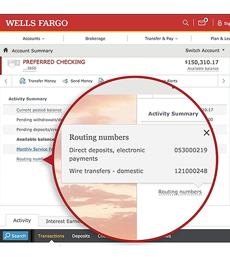 how can i get my bank account number from wells fargo