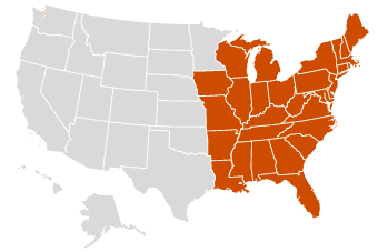 Image of a map showing highlighted eastern states: AL, AR, CT, DC, DE, FL, GA, IA, IL, IN, KY, LA, MA, MD, ME, MI, MO, MS, NC, NH, NJ, NY, OH, PA, RI, SC, TN, VA, VT, WI, WV