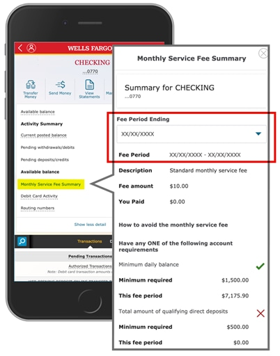 Open the Monthly Service Fee Summary link to learn if you've qualified for free checking in any fee period. Fee period chooser is near the top of the overlay.