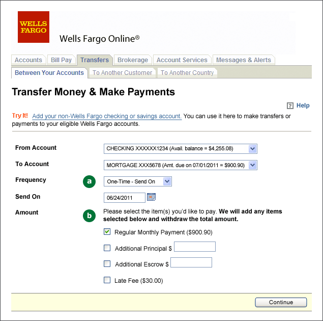 Screenshot of the Transfers and Payments screen. A: Frequency menu with On-Time – Send-On frequency selected. B: Options for selecting your payment amount.