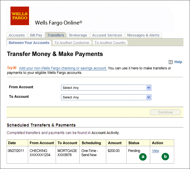 Screenshot of the Transfers and Payments screen showing Scheduled Transfers and Payments table. A: Status column showing Pending. B: Link to view details of the scheduled payment.