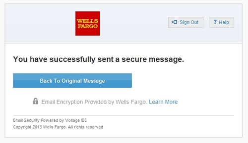 screenshot secure email confirmation message
