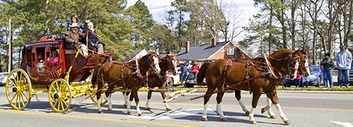 The Wells Fargo stagecoach at a parade