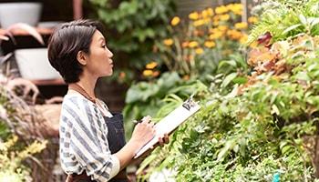 Diverse women in garden