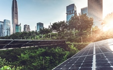 Cityscape with trees and solar panels